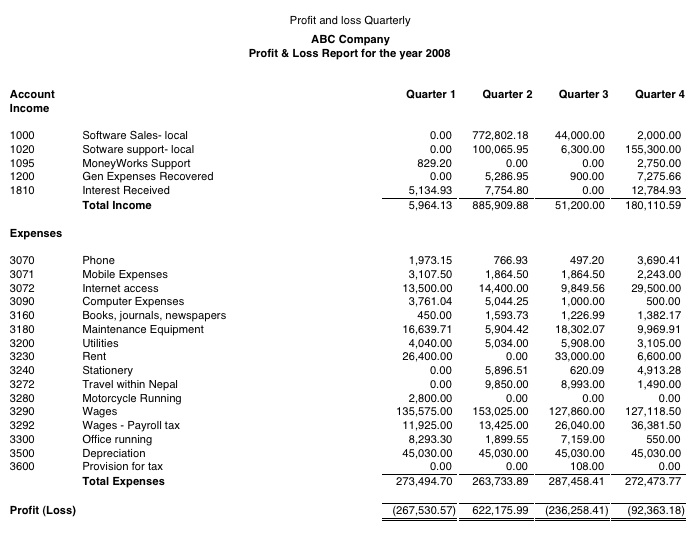 loss and profit report