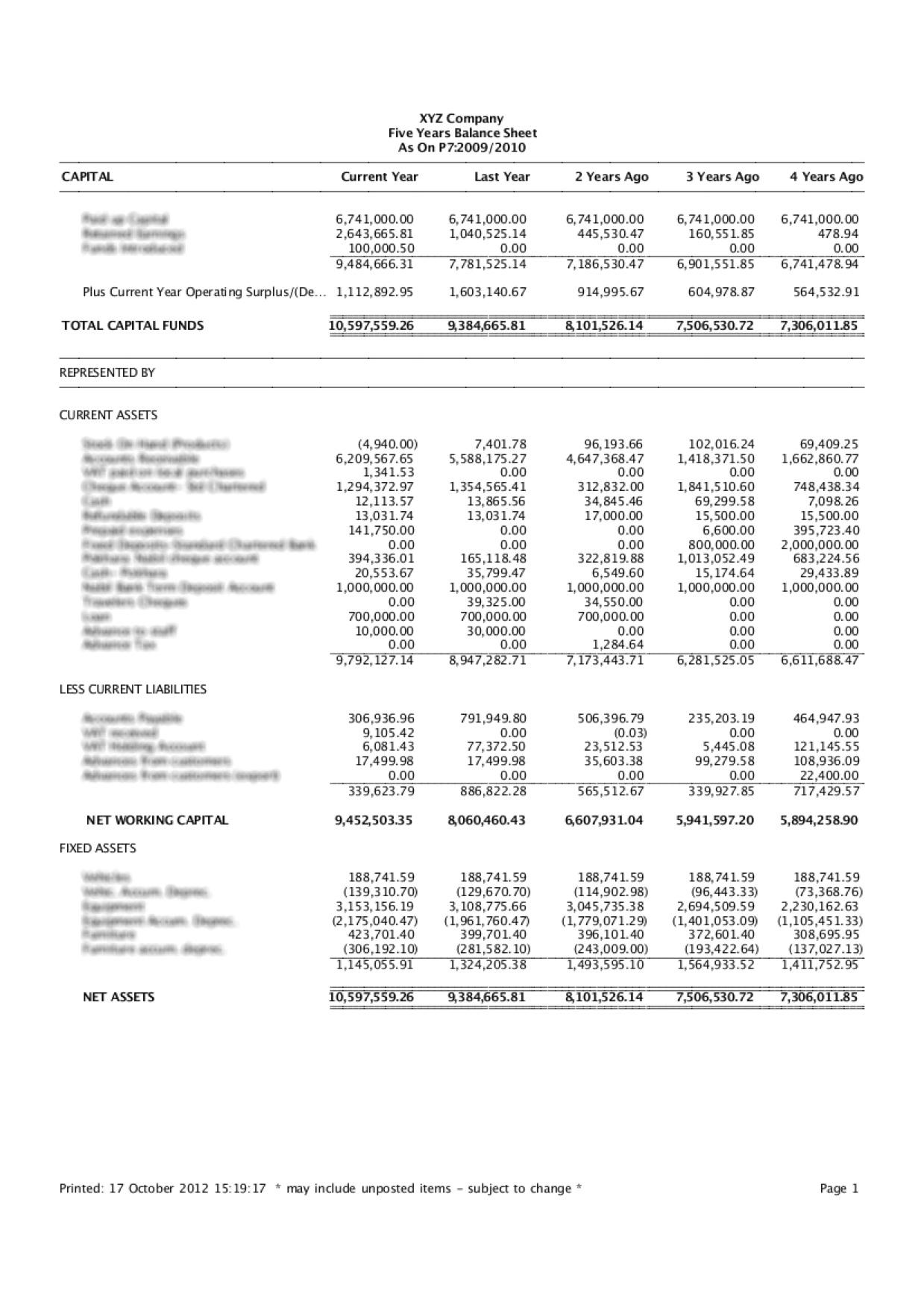5 years balance sheet report